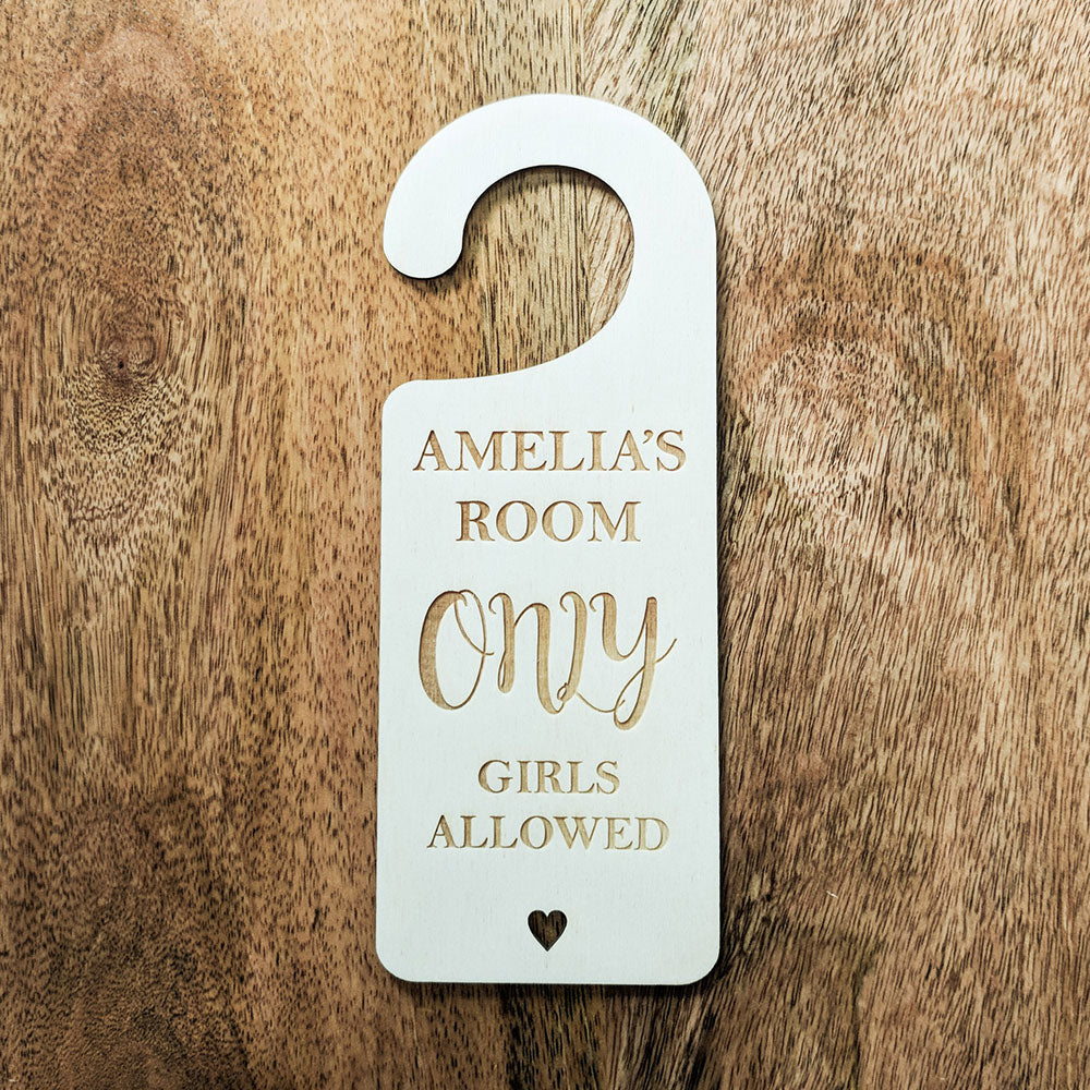 Custom Wooden Only Girls Allowed Door Hanger