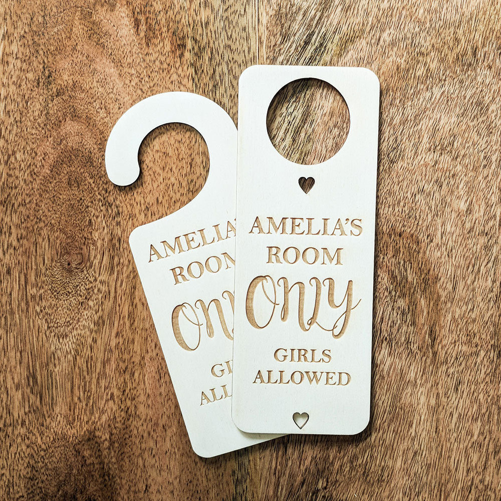 Bespoke Wooden Only Girls Allowed Door Hanger