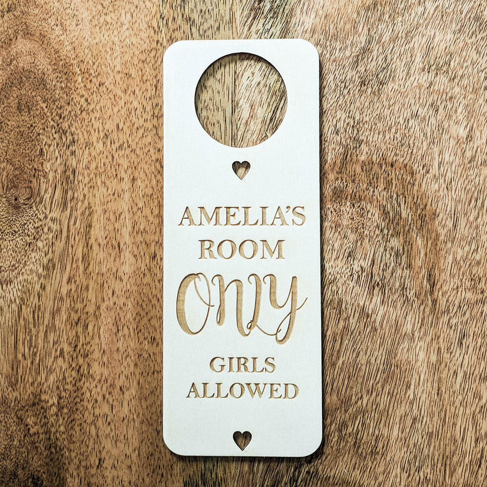 Personalised Wooden Only Girls Allowed Door Hanger