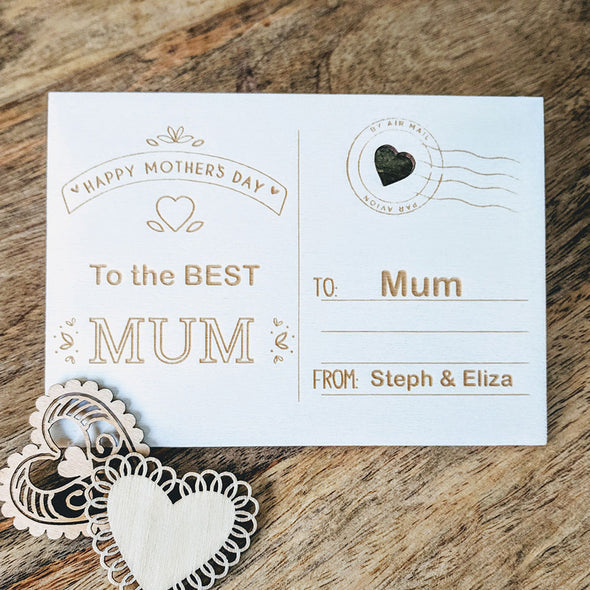 Personalised Wooden Happy Mother's Day Card - Banner