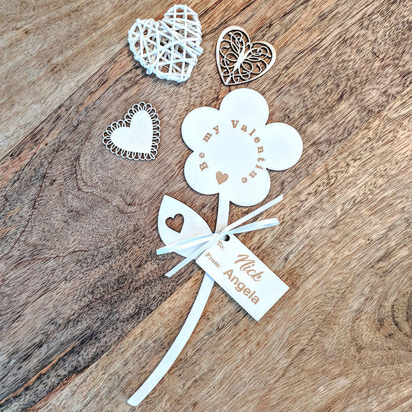 Be My Valentine Wooden Flower - Single Flower with Tag
