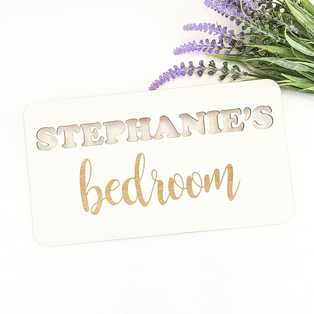Personalised Wooden Bedroom Sign - Cut and Engraved