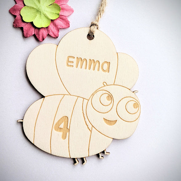 Personalised Wooden Bee Gift Tag