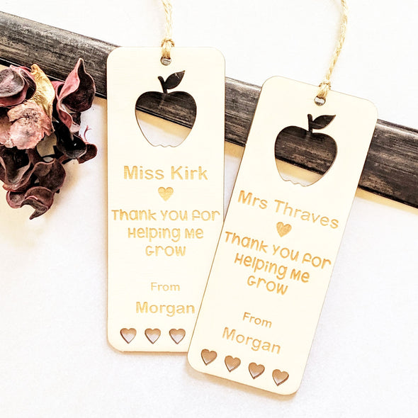 Personalised Wooden Thank You Teacher Bookmark - Hearts