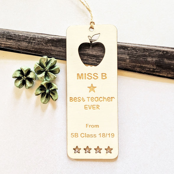 Personalised Wooden Thank You Teacher Bookmark - Stars