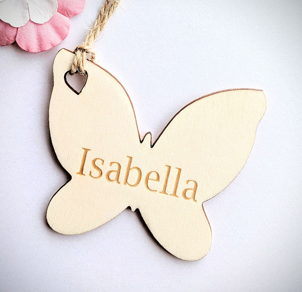 Personalised Wooden Butterfly Gift Tag