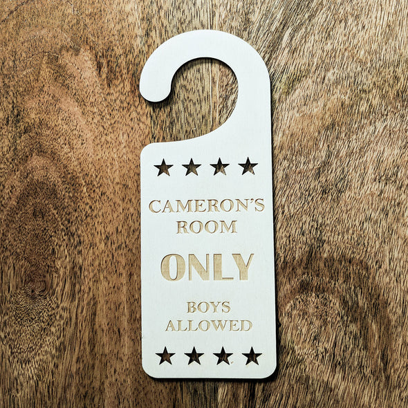 Personalised Wooden Only Boys Allowed Door Hanger