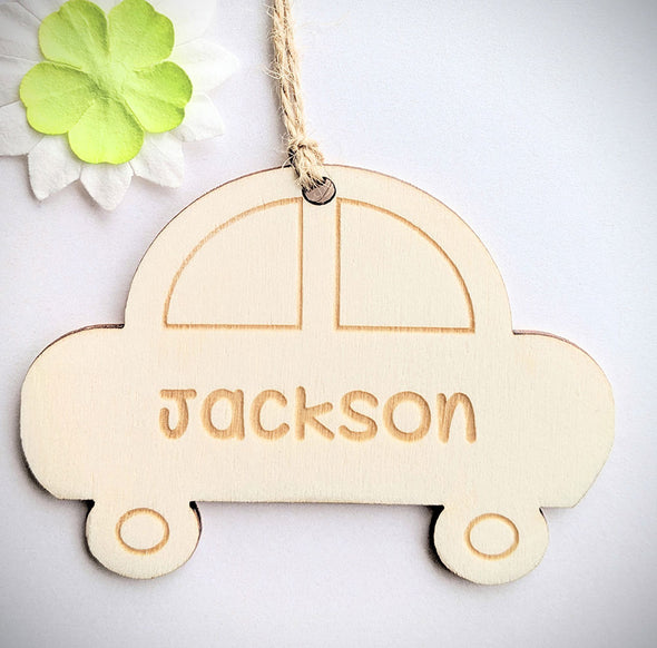 Personalised Wooden Car Gift Tag