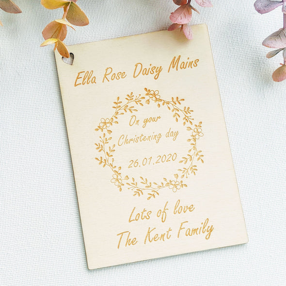 Personalised Wooden Christening Card - Wreath