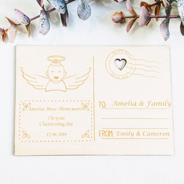 Personalised Wooden Christening Card - Angel