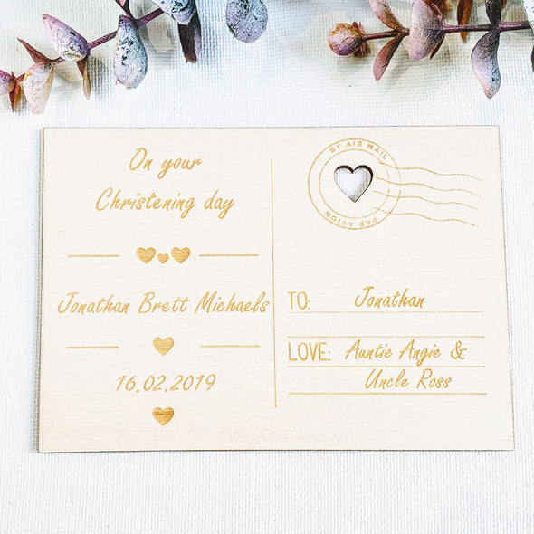 Personalised Wooden Christening Card - Hearts