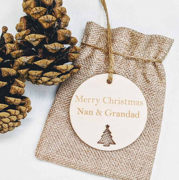 Personalised Wooden Circle Christmas Gift Tag