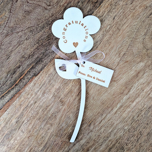 Congratulations Wooden Flower - Single Flower with Tag