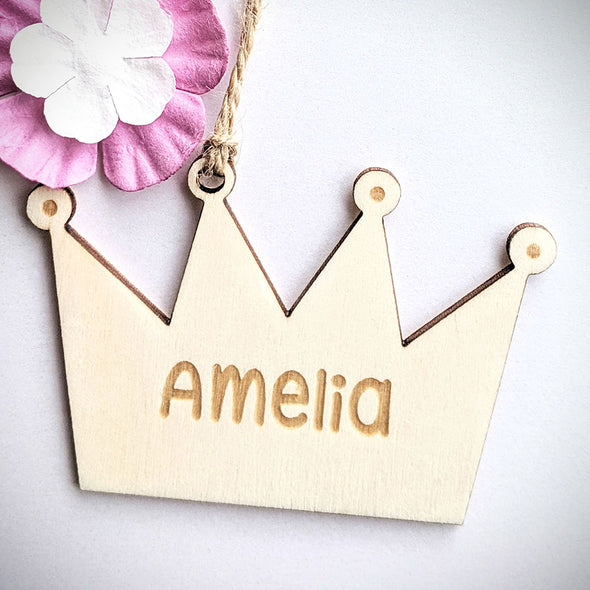 Personalised Wooden Crown Gift Tag
