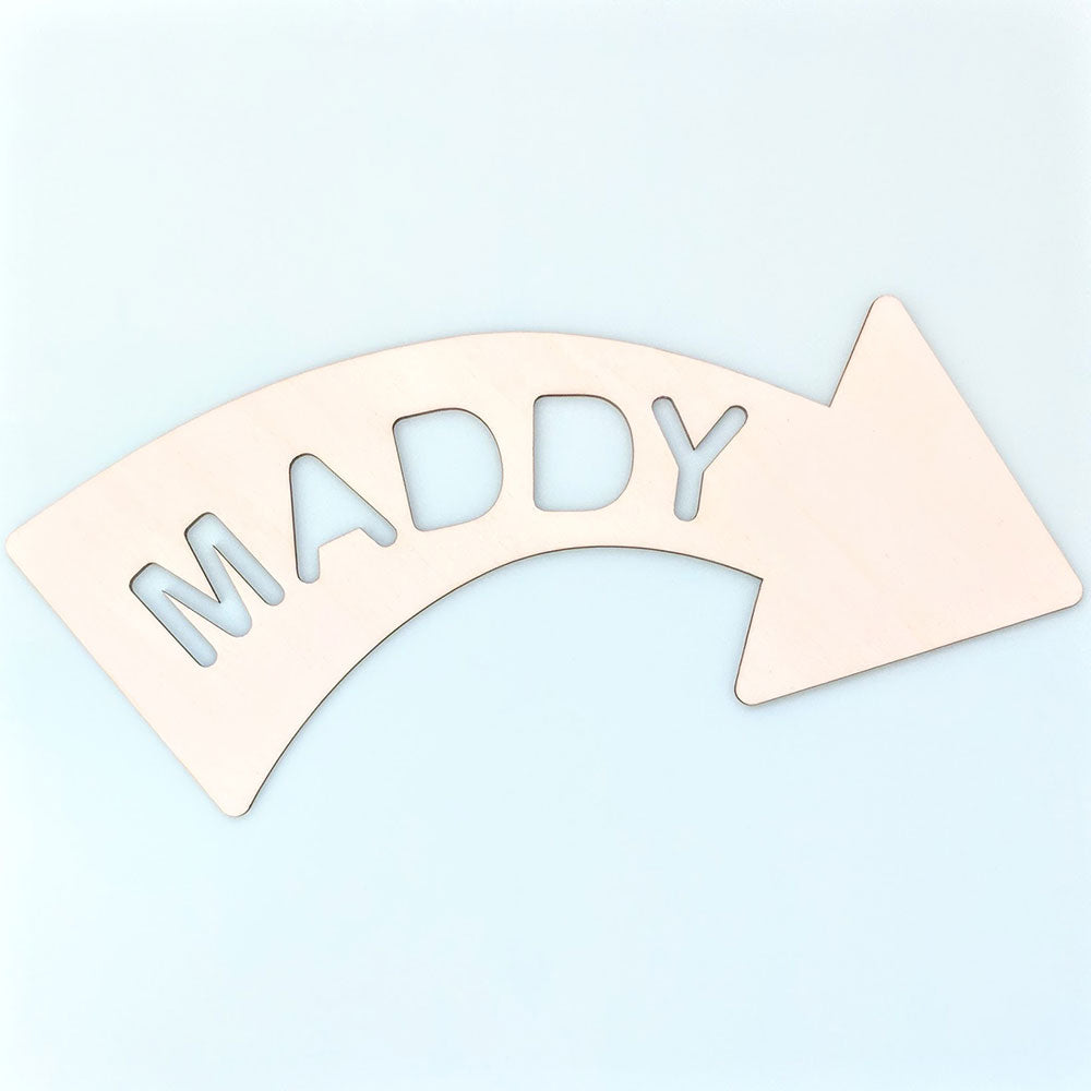 Personalised Wooden Arrow Sign Curved Right