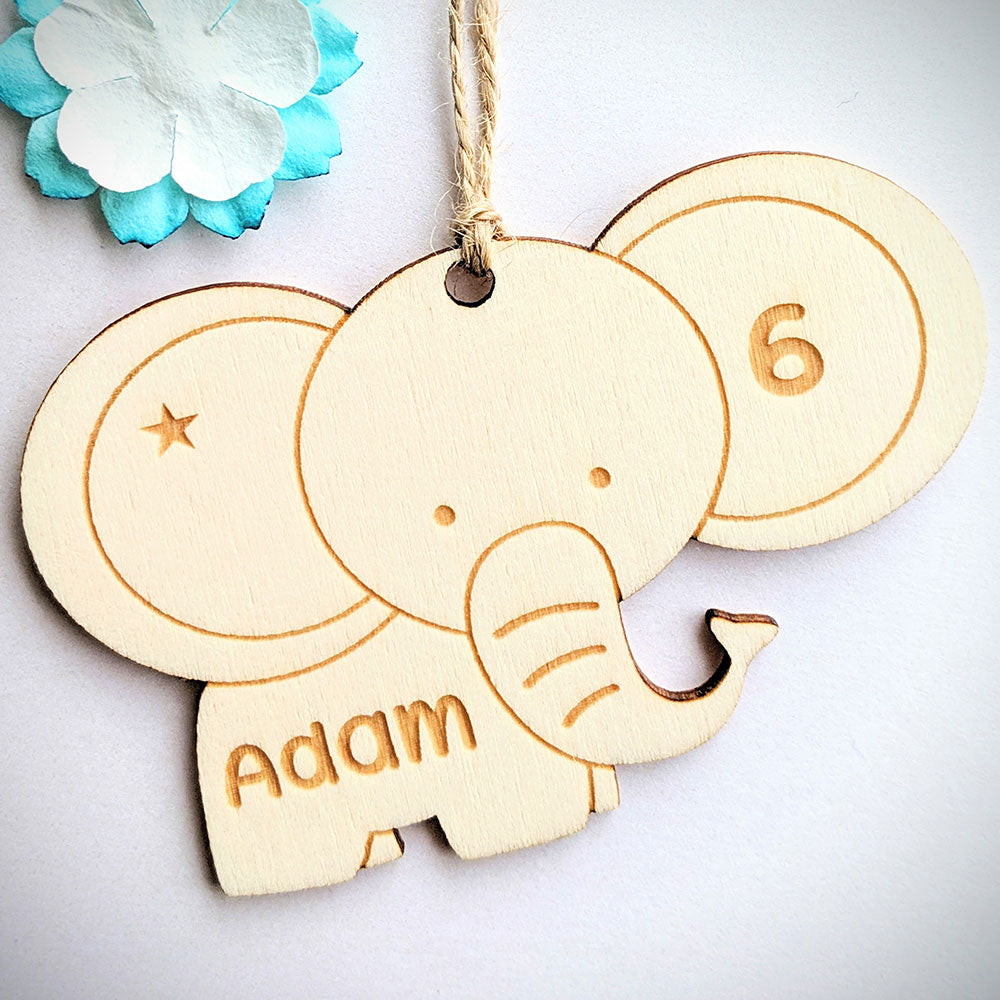 Personalised Wooden Elephant Gift Tag