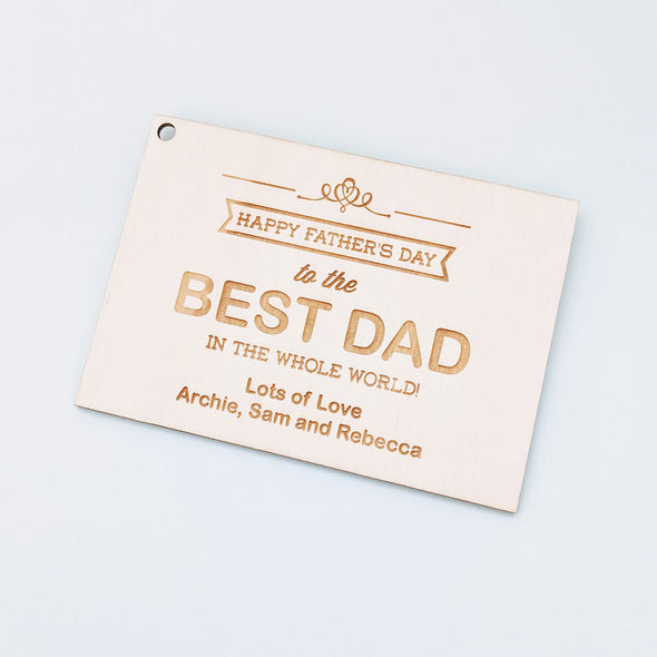 Personalised Wooden Happy Father's Day Card - Banner