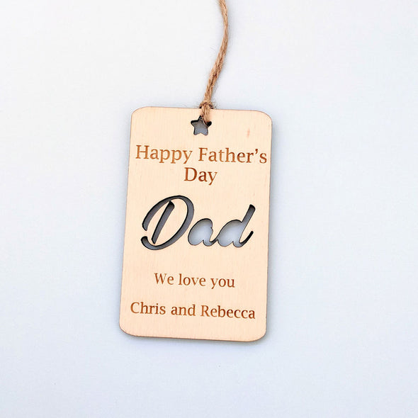 Personalised Wooden Happy Father's Day Gift Tag - Rectangle