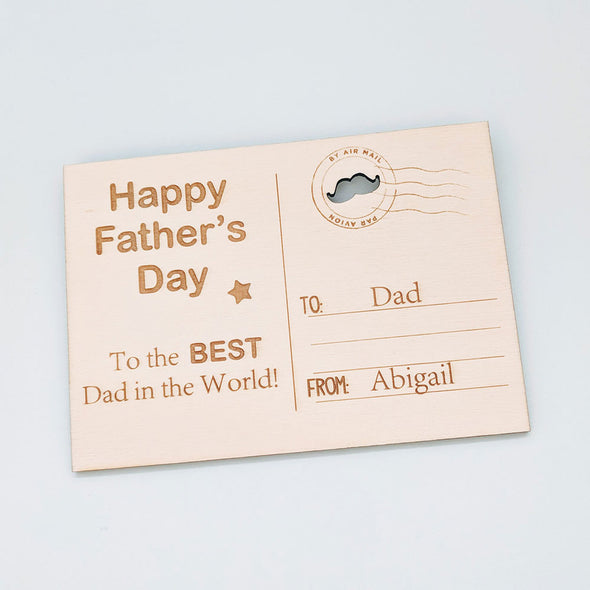 Personalised Wooden Happy Father's Day Card - Best Dad
