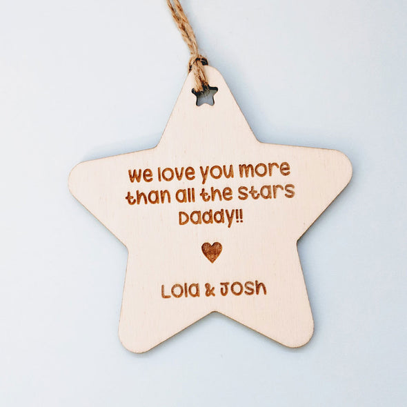 Personalised Wooden Happy Father's Day Gift Tag - Star