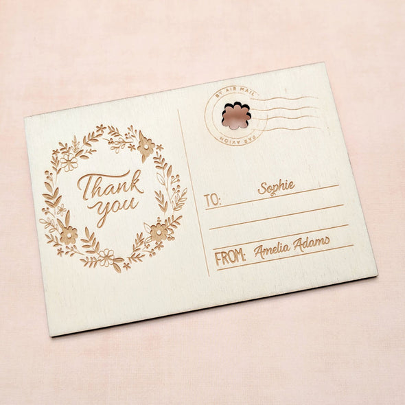 Personalised Wooden Thank You Teacher Card