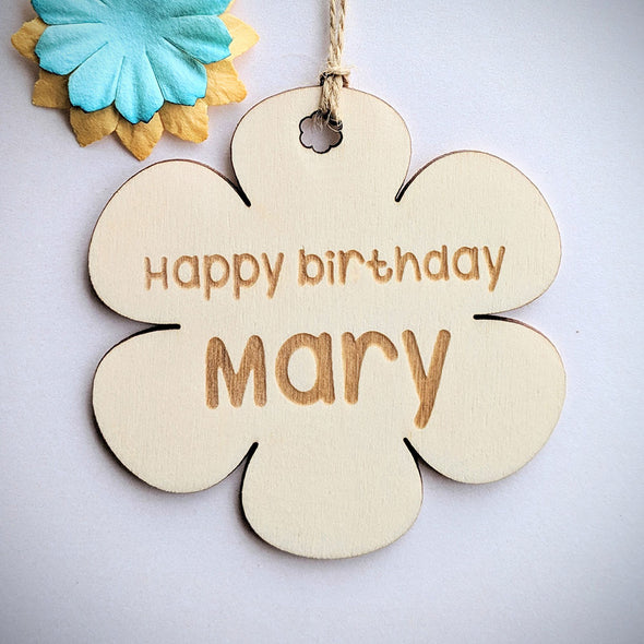 Personalised Wooden Flower Gift Tag