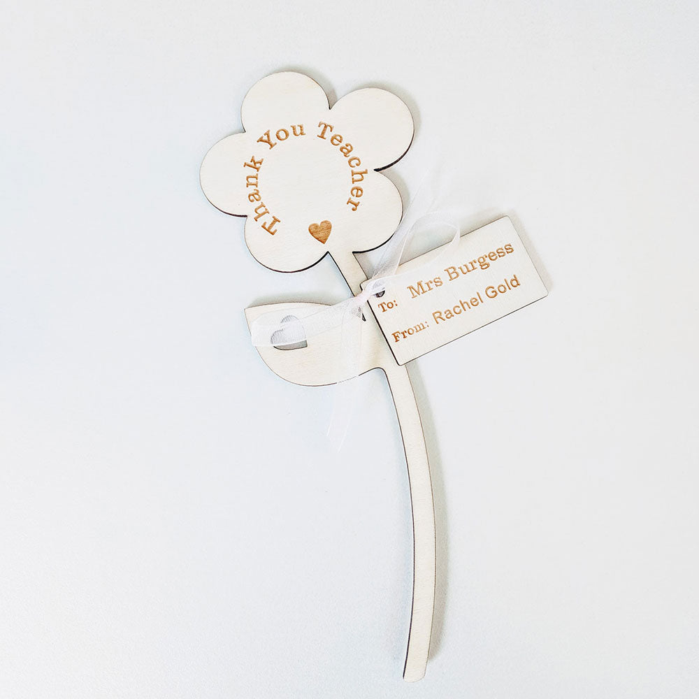Thank You Teacher Wooden Daisy - Single Flower with Tag