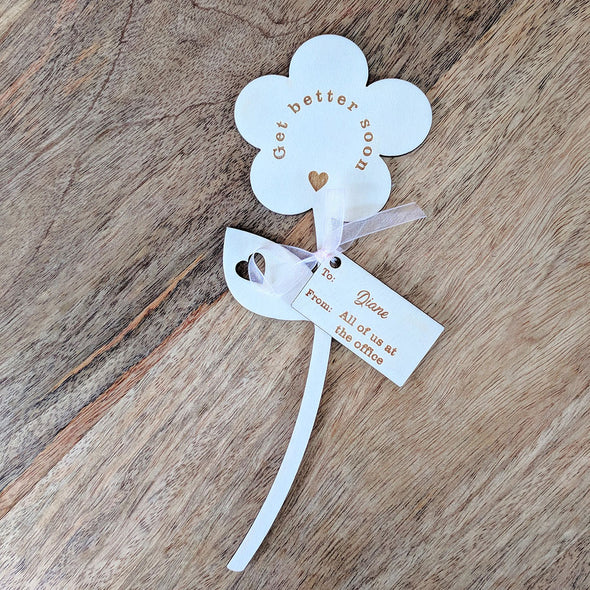 Get Better Soon Wooden Flower - Single Flower with Tag