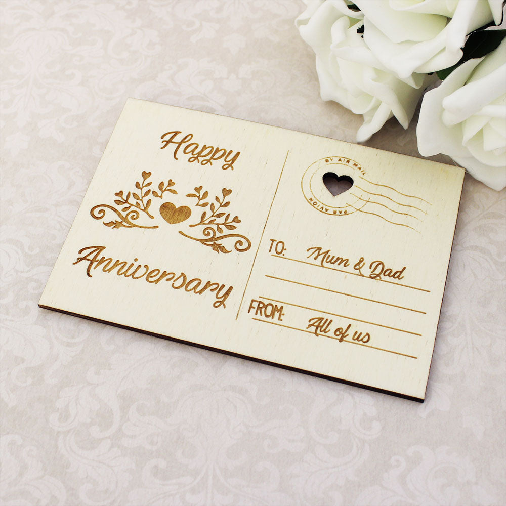 Personalised Wooden Floral Heart Happy Anniversary Postcard