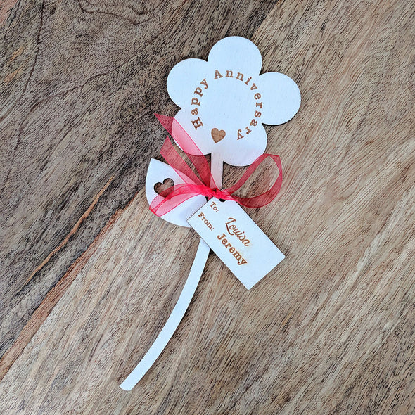 Happy Anniversary Wooden Flower - Single Flower with Tag
