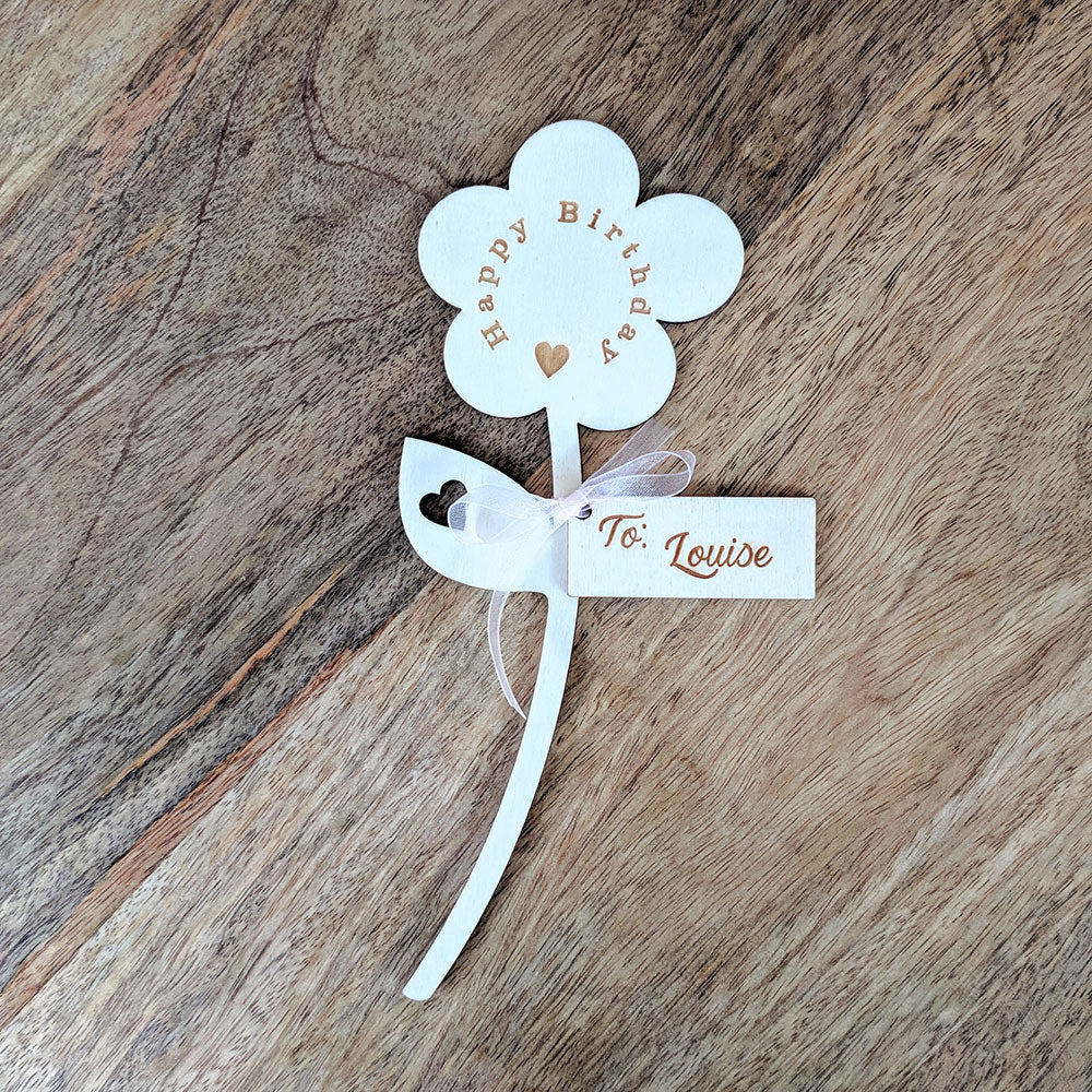 Personalised Wooden Flower - Happy Birthday