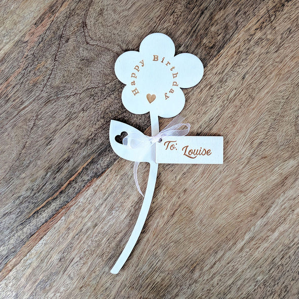Happy Birthday Wooden Flower - Single Flower with Tag
