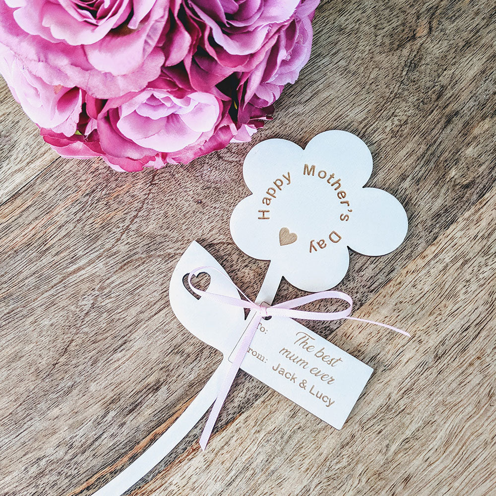 Happy Mother's Day Wooden Flower - Single Flower with Tag