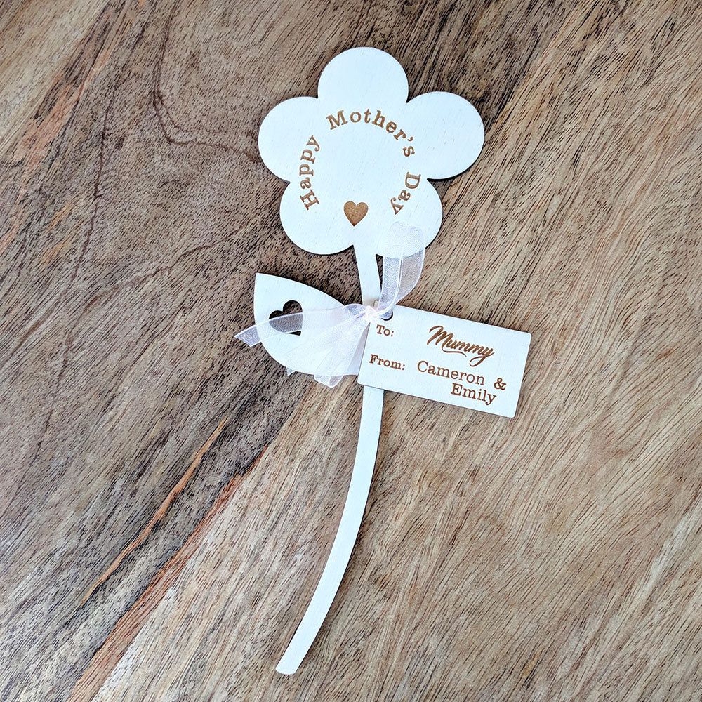Personalised Wooden Flower - Happy Mother's Day