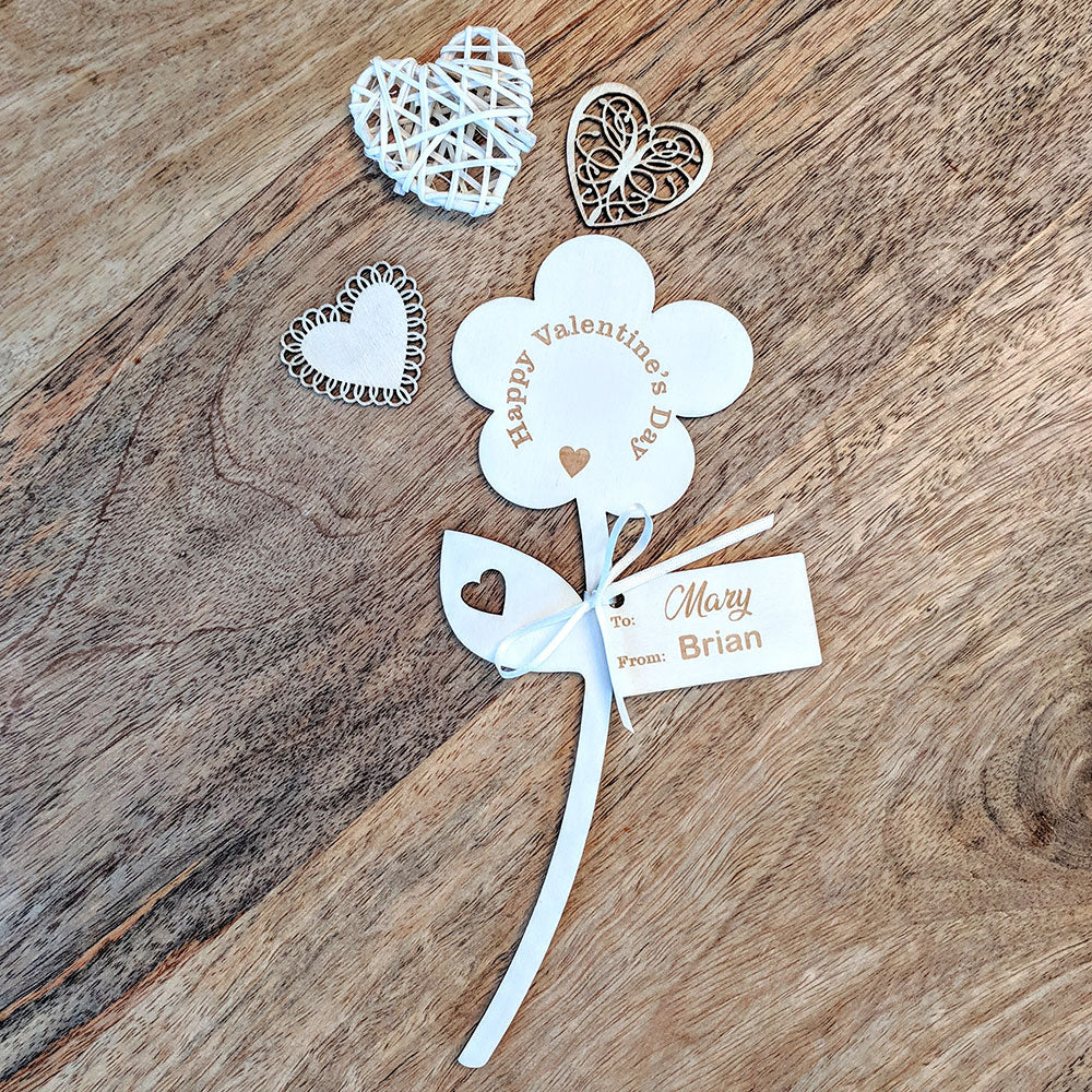 Happy Valentine's Day Wooden Flower - Single Flower with Tag
