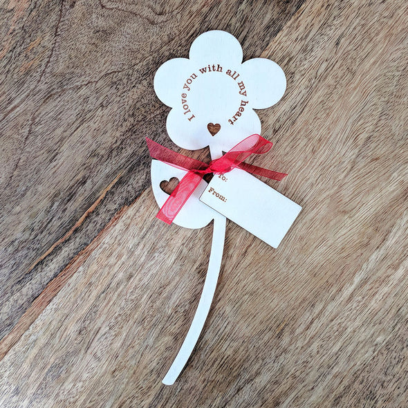 I Love You Wooden Flower - Single Flower with Tag