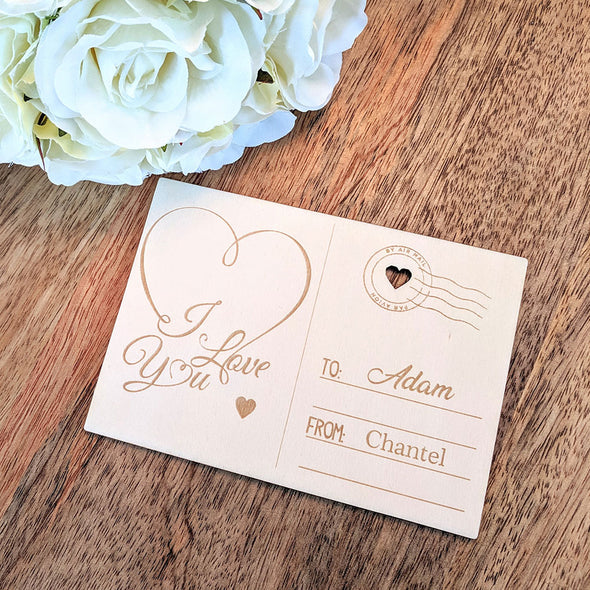 Personalised Wooden Happy Valentine's Day Card - I Love You