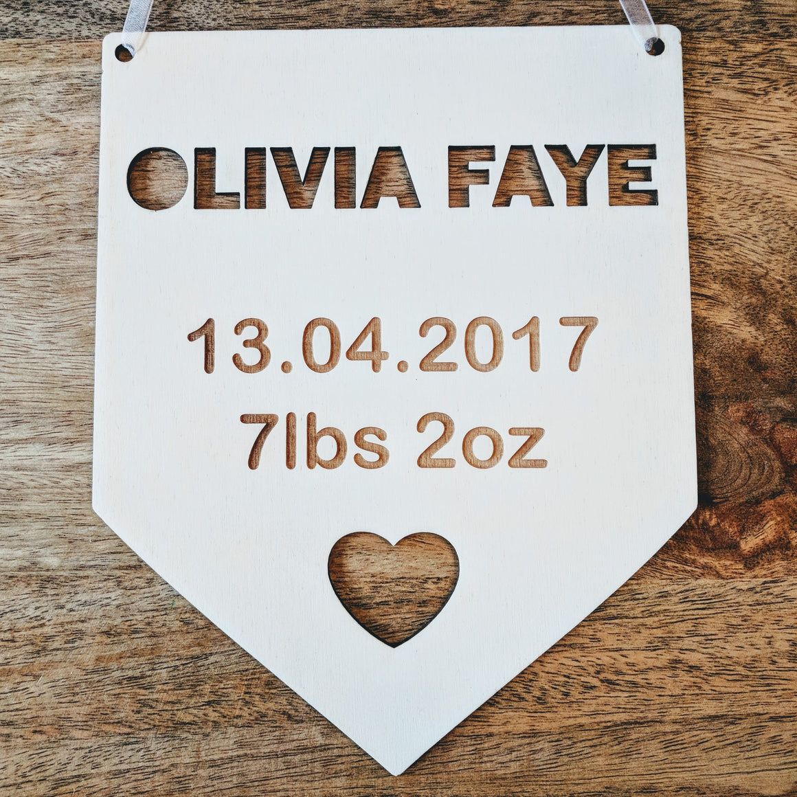 Personalised Wooden Engraved Flag Birth Details Bedroom Sign