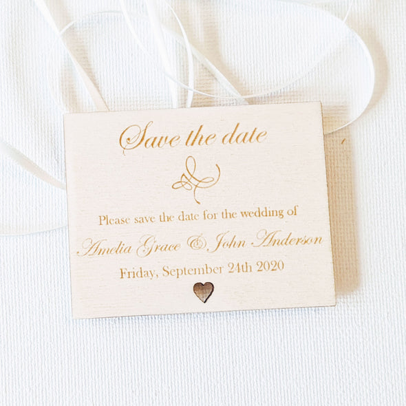 Personalised Wooden Save the Date Wedding Invitation Magnet - Plaque 1