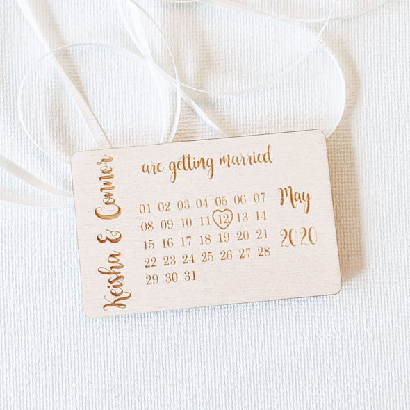 Personalised Wooden Save the Date Wedding Invitation Magnet - Plaque 2