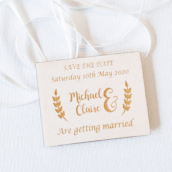 Personalised Wooden Save the Date Wedding Invitation Magnet - Plaque 3