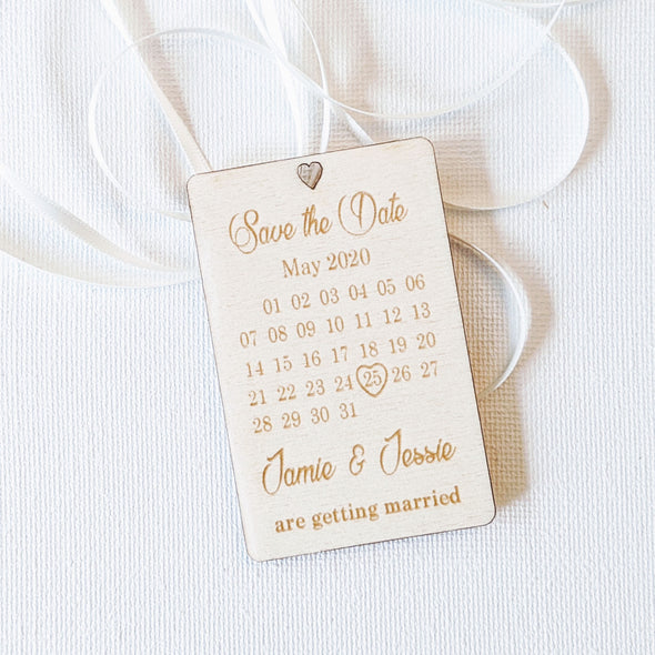 Personalised Wooden Save the Date Wedding Invitation Magnet - Plaque 4