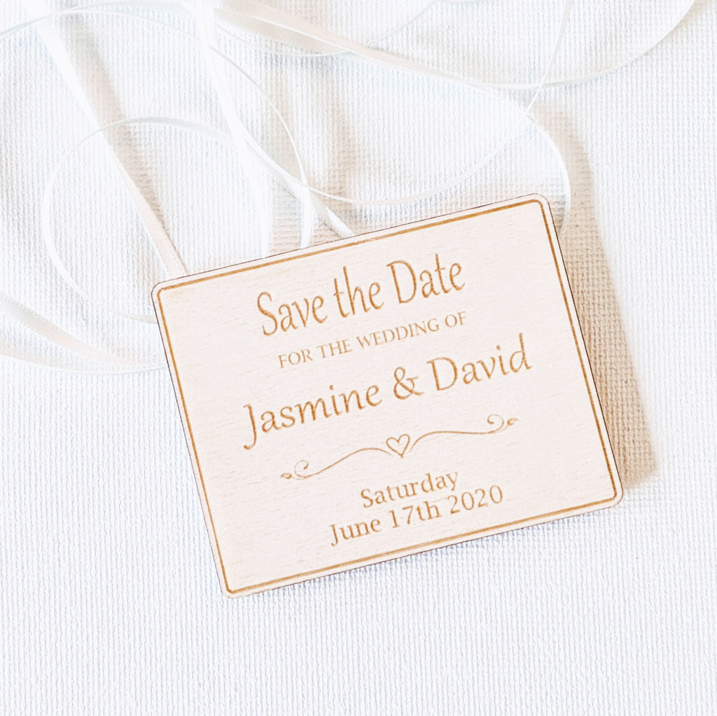 Personalised Wooden Save the Date Wedding Invitation Magnet - Plaque 5