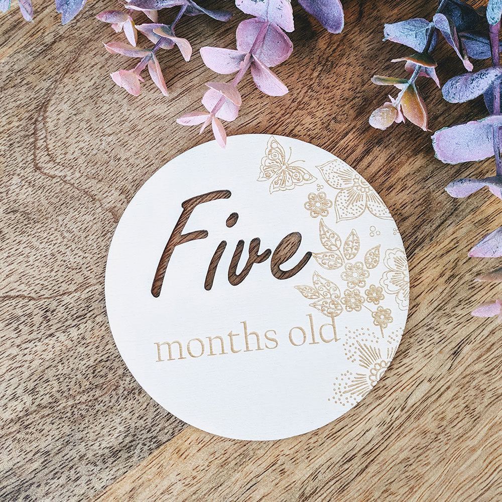 Personalised Wooden Baby Milestone Cards