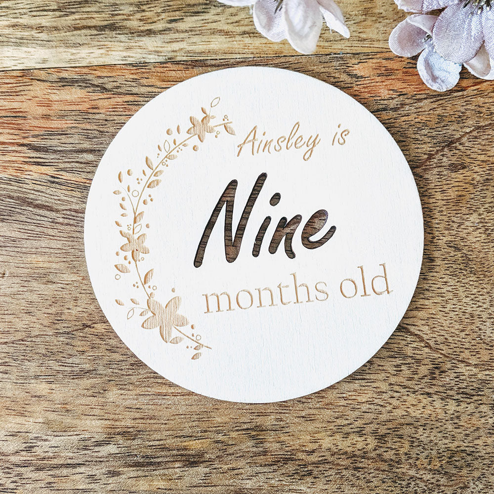 Personalised Wooden Baby Milestone Cards with name