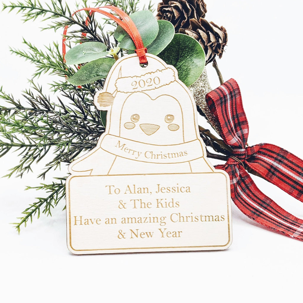 Personalised Wooden Christmas Tree Decoration - Penguin Tag