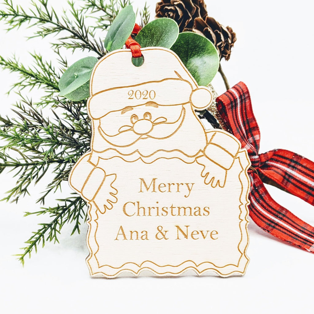 Personalised Wooden Christmas Tree Decoration - Santa Sign