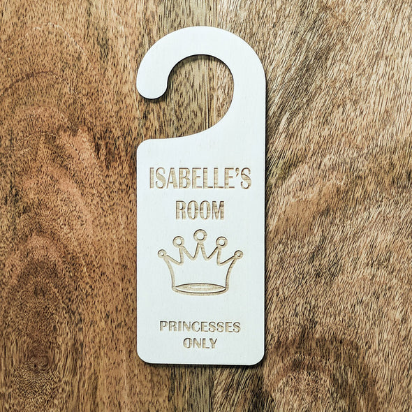 Personalised Wooden Princesses Only Door Hanger