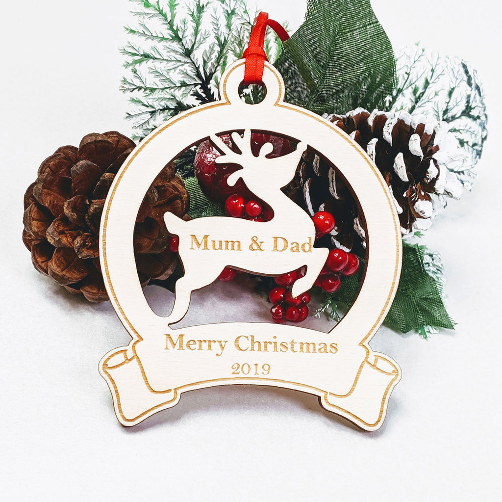 Personalised Wooden Christmas Tree Decoration - Reindeer Banner