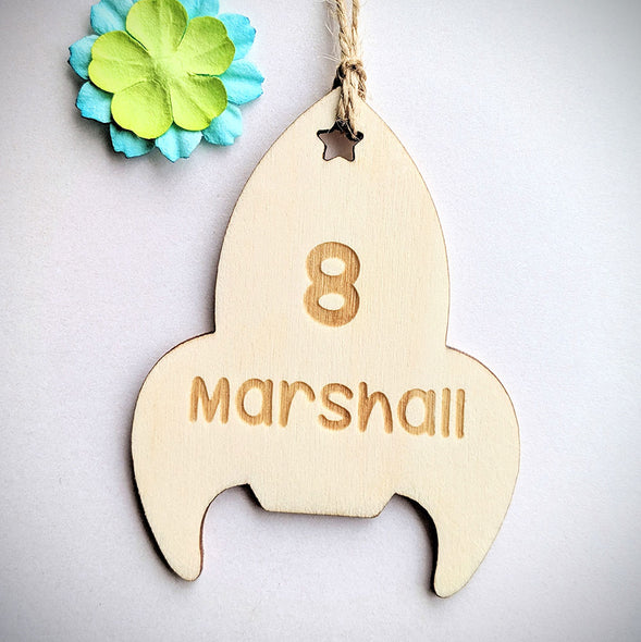 Personalised Wooden Rocket Gift Tag